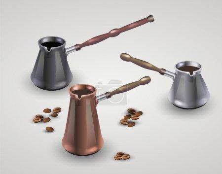 Illustration pour Ensemble vectoriel de différentes cafetières . - image libre de droit