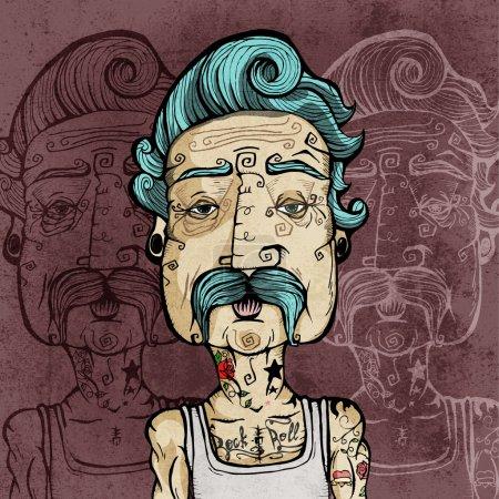 Illustration pour Portrait d'un homme avec une moustache et des tatouages. Illustration vectorielle . - image libre de droit