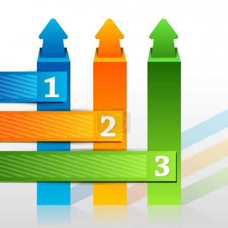 Illustration pour Stickers flèches sertis de boutons numérotés - image libre de droit