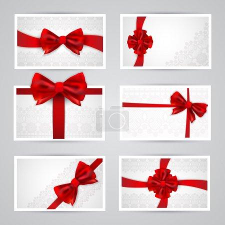 Photo pour Ensemble de belles cartes avec des noeuds cadeaux rouges - image libre de droit