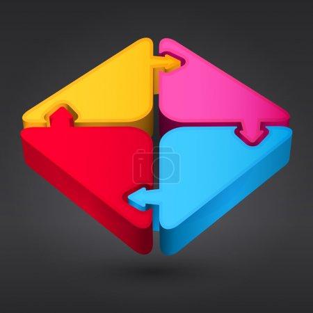 Illustration pour Quatre étapes processus flèches - élément de conception. Vecteur . - image libre de droit