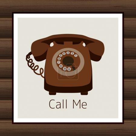 Illustration pour Carte avec téléphone vintage. illustration vectorielle - image libre de droit