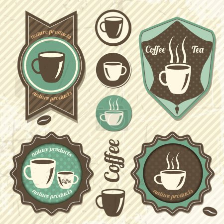 Illustration pour Set de timbre de café rétro vintage - image libre de droit