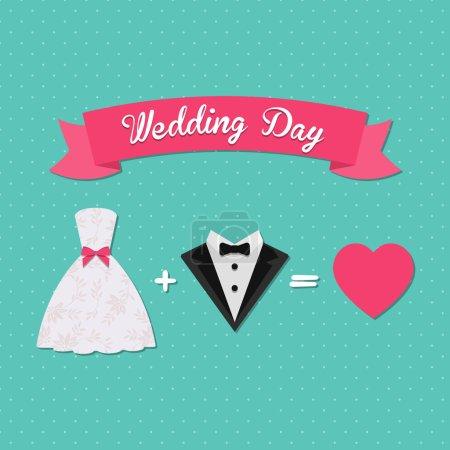 Illustration pour Carte d'invitation de mariage illustration vectorielle - image libre de droit