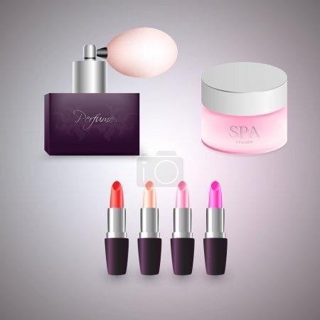 Illustration pour Parfum, crème et rouge à lèvres. Illustration vectorielle . - image libre de droit