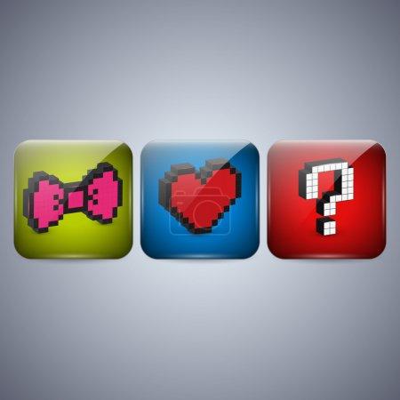 Illustration pour Ensemble vectoriel d'icônes de pixels . - image libre de droit