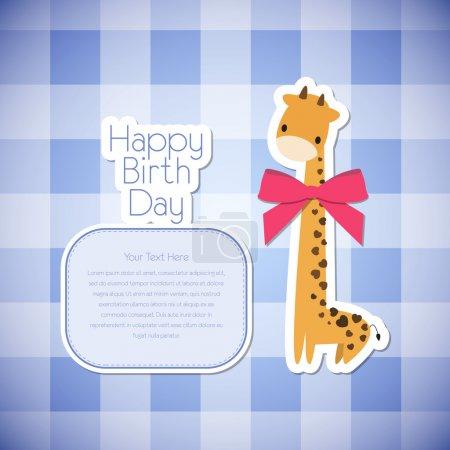 Illustration pour Carte de vœux vectorielle girafe . - image libre de droit