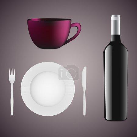 Illustration pour Bouteille de vin, tasse, assiette et couverts . - image libre de droit