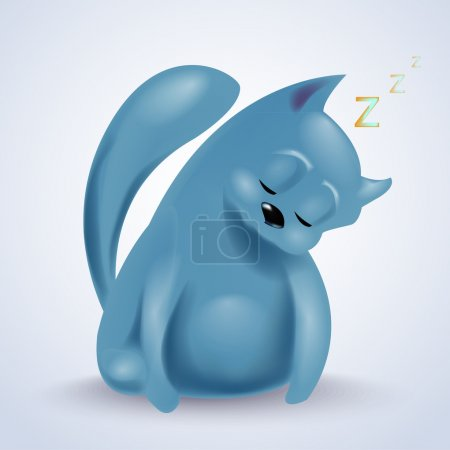 Illustration of sleeping cute cat.