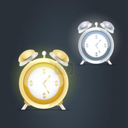 Alarm clocks vector illustration, education