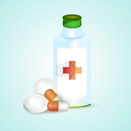 Illustration for Prescription pill bottle with pills - Royalty Free Image