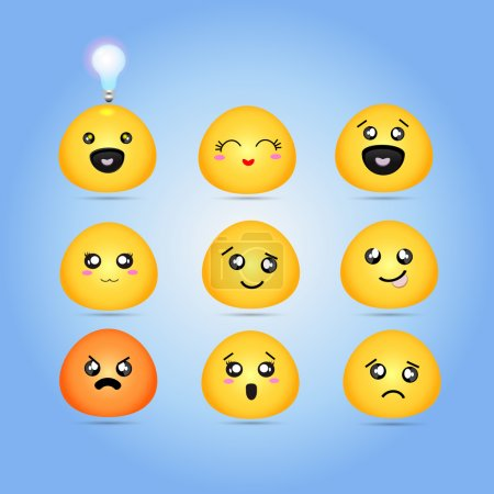 Set of characters of yellow emoticons