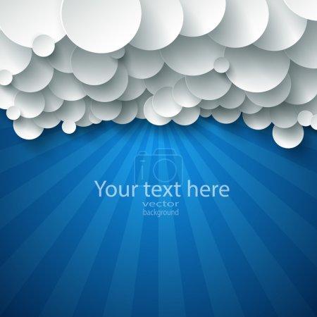 Photo pour Fond abstrait vectoriel composé de nuages de papier blanc au-dessus du bleu . - image libre de droit