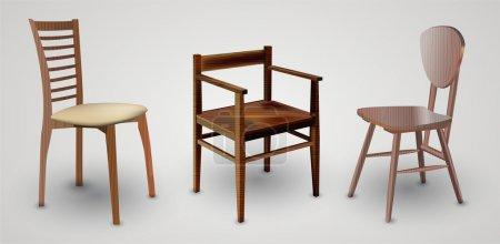 Illustration pour Ensemble de chaises en bois illustration vectorielle - image libre de droit