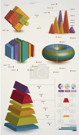 Ilustración colorida del vector de los elementos infográficos