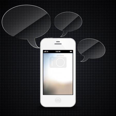 Illustration pour Smartphone avec bulles vocales planant - image libre de droit