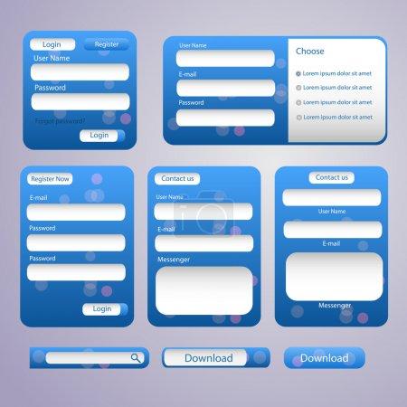 Illustration pour Connectez-vous et enregistrez le vecteur d'écrans Web - image libre de droit