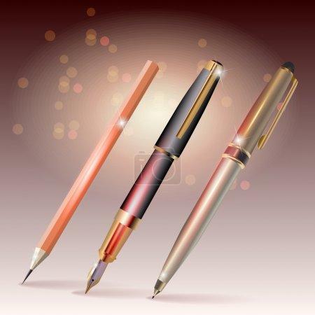 pens and pencilvector  vector illustration