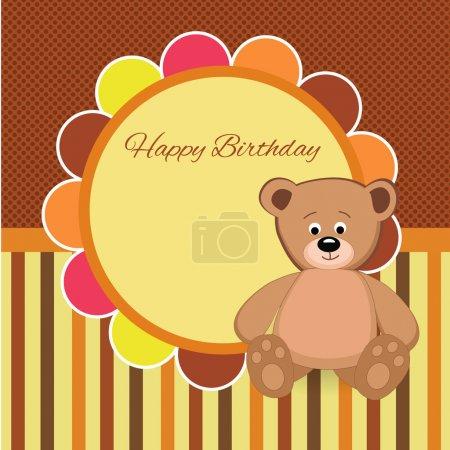 Vector birthday party card with Teddy bear