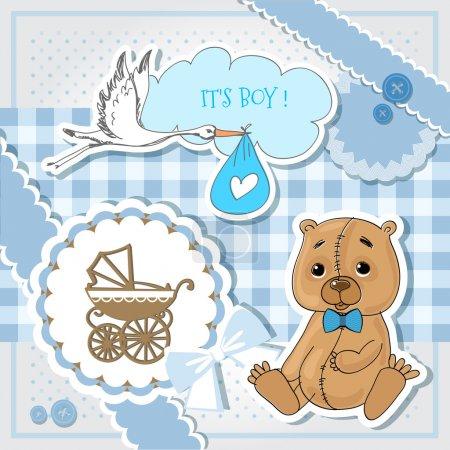 Illustration pour Douche bébé carte bleue - image libre de droit