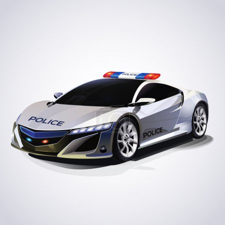 Illustration pour Illustration de voiture de police. Vecteur . - image libre de droit
