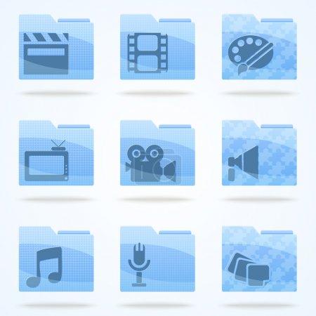 Photo pour Ensemble d'icônes de dossier vectoriel - image libre de droit