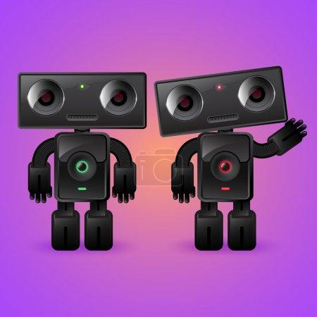 Illustration pour Deux robots. Un homme et une femme . - image libre de droit