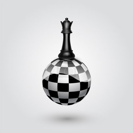 Chess black queen. Vector illustration.