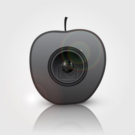 Black speaker in apple. Vector illustration.