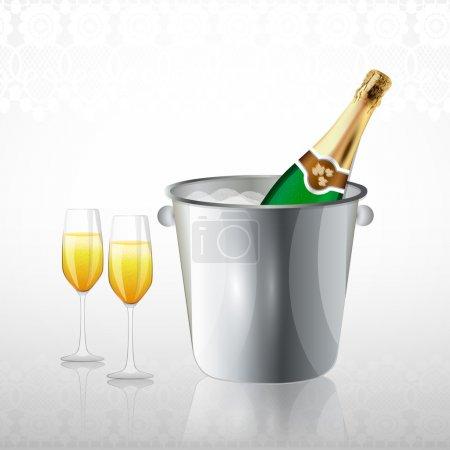 Photo pour Pleins verres et une bouteille de champagne dans un seau avec de la glace - image libre de droit