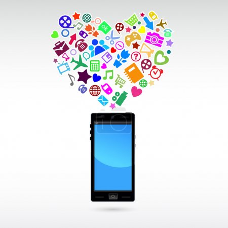 Love mobile phone application. Vector Illustration