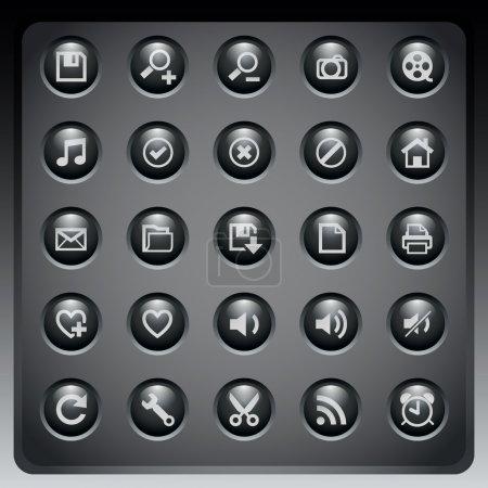 Illustration pour Icônes web sur fond sombre - image libre de droit