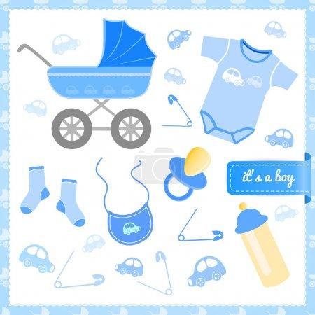 Illustration pour Carte de bébé garçon annonce. illustration vectorielle - image libre de droit