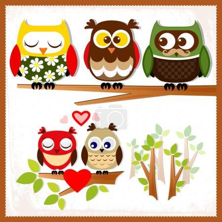 Illustration pour Ensemble de cinq hiboux aux émotions variées . - image libre de droit