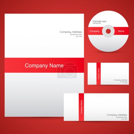 Red corporate identity template.