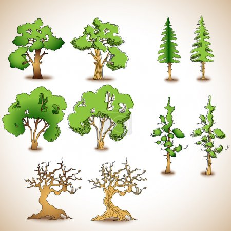 Illustration pour Ensemble vectoriel d'arbres verts . - image libre de droit