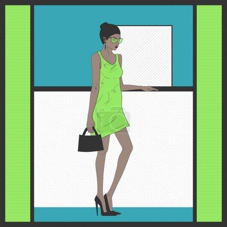 Illustration pour Femme en robe verte . - image libre de droit
