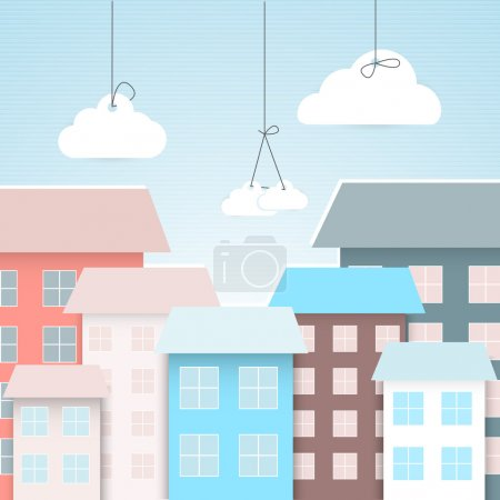 Photo for Vector town background, vector illustration - Royalty Free Image