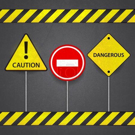 Vector road signs: stop caution dangerous