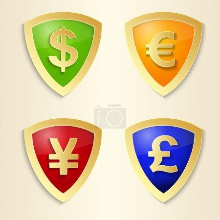 Illustration pour Signes de devise - dollar, euro, yen et livre. Symbole vectoriel argent . - image libre de droit