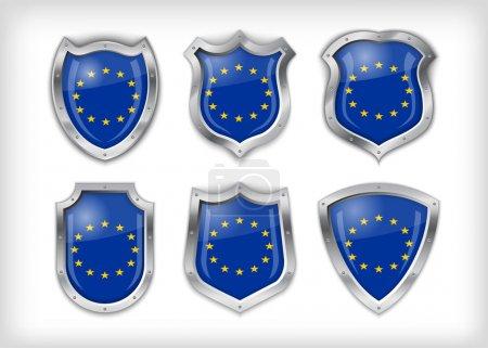 verschiedene Symbole mit europäischer Gewerkschaftsfahne