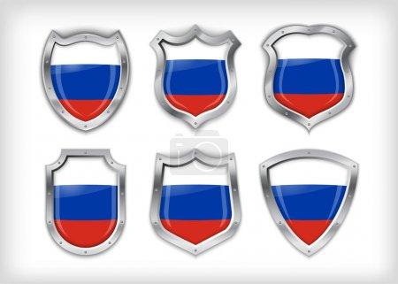 Illustration pour Différentes icônes avec drapeau russe - image libre de droit