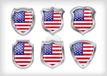 Illustration pour Différentes icônes avec drapeau des États-Unis - image libre de droit