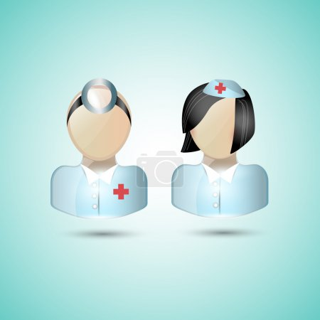 Illustration for Doctor icons in blue lab coat isolated on turquoise - Royalty Free Image