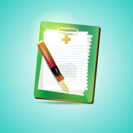 Illustration for Clipboard blank sheet of paper and fountain pen - Royalty Free Image