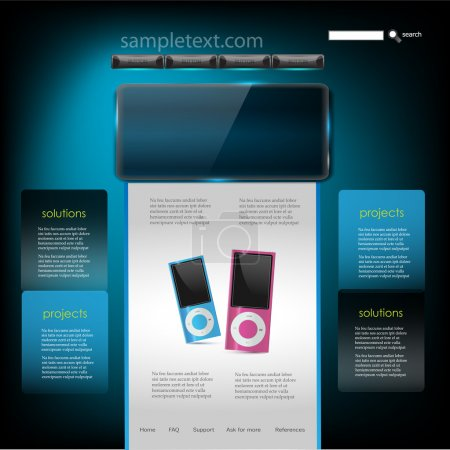 Illustration for Vector Website Design Template of mp3 player - Royalty Free Image