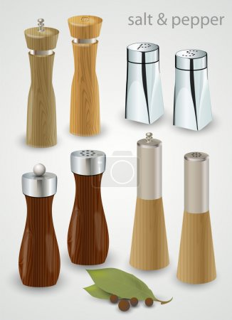Illustration pour Moulins et shakers à sel et poivre - image libre de droit