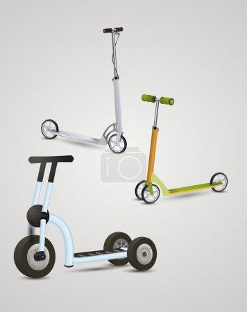 children's scooter, vector illustration