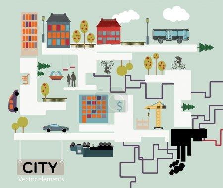 Illustration pour Ville fond vectoriel, info graphique . - image libre de droit