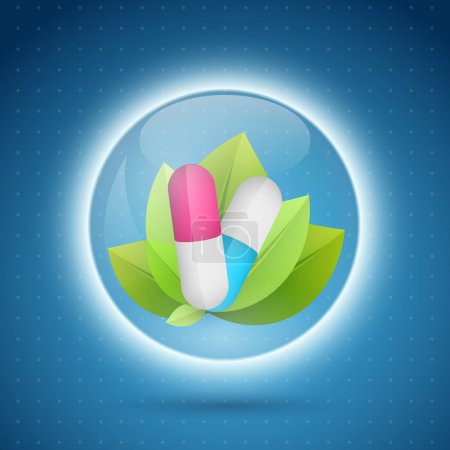 Illustration for Pill on leafs, vector illustration - Royalty Free Image
